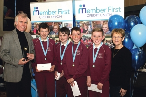 Rolestown NS team won the second round of the Member First Credit Union School Quiz, and the right to advance to the final in Tullamore. Pictured with school principal, Tom Kelleher and vice chairperson of Member First Credit Union, Joan Barker are team members, Nicolas Day, Lorcan McMahon, Conor Gleeson and Justin Hogan