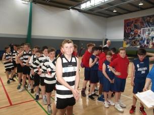 Boys line up for medals